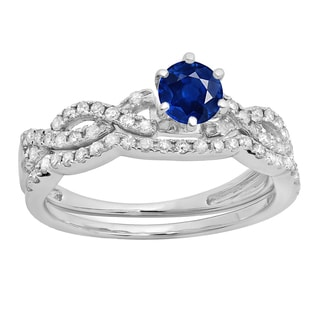 Eloar 10k Gold 7/8ct TGW Round Blue Sapphire and White Diamond Accent Twisted Wedding Set (H-I, I1-I2)