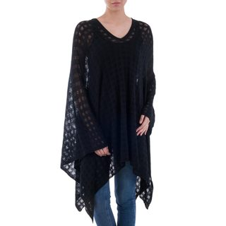 Handmade Acrylic Alpaca Blend 'Beautiful Shadow' Poncho (Peru)