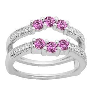 Eloar 14k Gold 3/4ct TGW Pink Sapphire and Diamond Accent Wedding 3-stone Guard Double Ring (H-I, I1-I2)