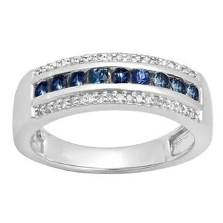 Elora 14k Gold 1/2ct TGW Blue Sapphire and White Diamond Accent Wedding Band (H-I, I1-I2)