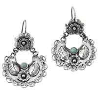 Handmade Sterling Silver 'Floral Thoughts' Turquoise Earrings (Mexico)