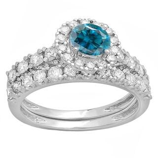 Elora 14k Gold 1 7/8ct TDW Round-cut Blue and White Diamond Bridal Halo Style Set (H-I, I1-I2)