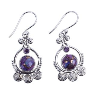 Handcrafted Sterling Silver 'Exotic Swirls' Turquoise Amethyst Earrings (India)