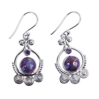 Handmade Sterling Silver 'Exotic Swirls' Turquoise Amethyst Earrings (India)