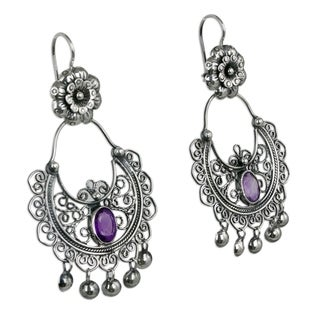 Handcrafted Sterling Silver 'Mazahua Elegance' Amethyst Earrings (Mexico)