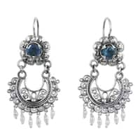 Handmade Sterling Silver 'Mazahua Lady' Blue Topaz Cultured Pearl Earrings (3 mm) (Mexico)
