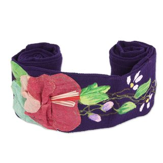 Handmade Cotton 'Petals on Purple' Sash (Mexico)