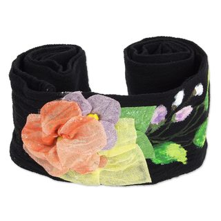 Handmade Cotton 'Petals on Black' Sash (Mexico)