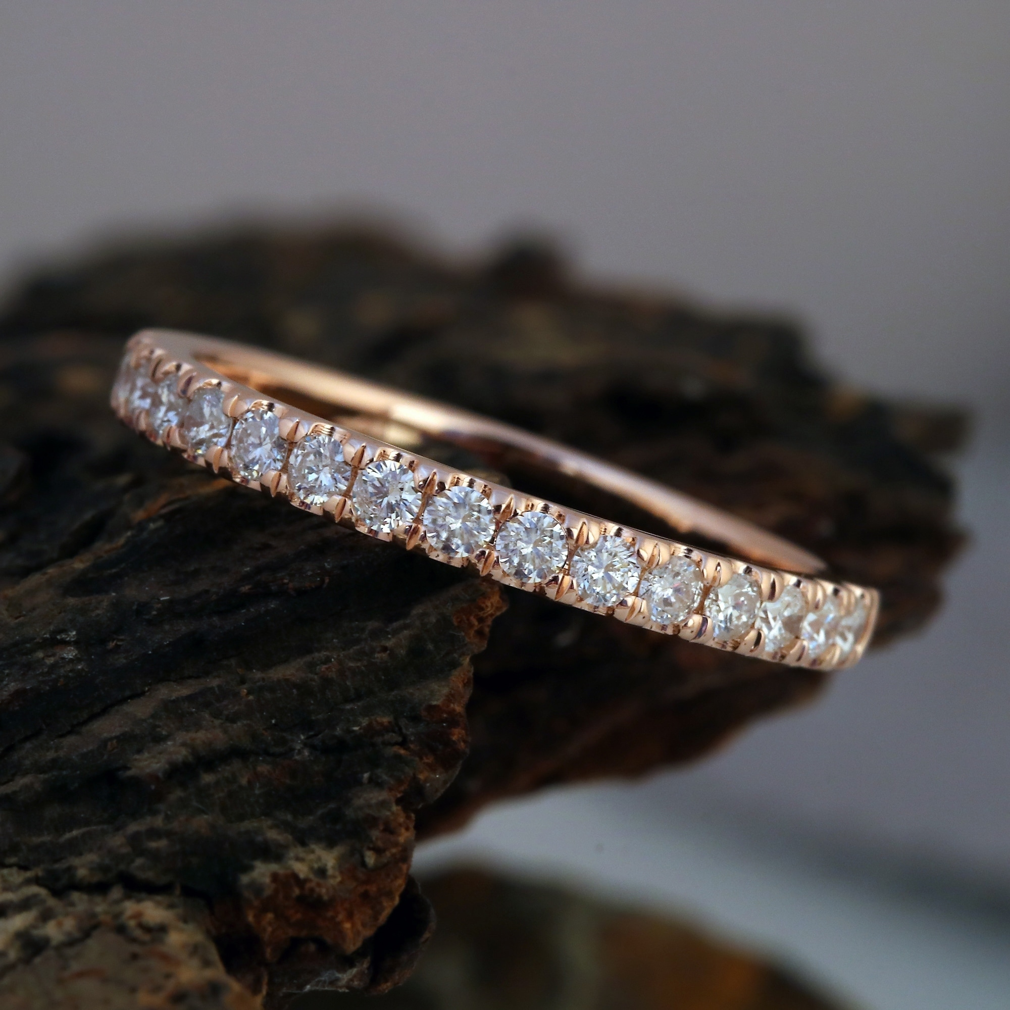 G-H,I2-I3 Diamond Wedding Band in 10K Pink Gold Size-9.75 1//10 cttw,