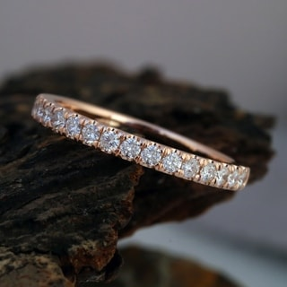 De Couer 14k Rose Gold 1/2ct TDW Diamond Wedding Band - Pink