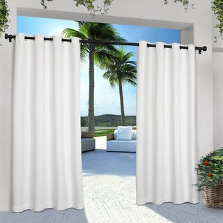 ATI Home Indoor/ Outdoor Solid Cabana Grommet Top Curtain Panel Pair in White 84-inch (As Is Item)