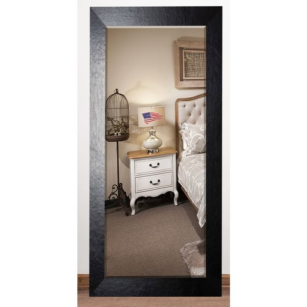 US Made Black Wide Leather Beveled Full Body Mirror