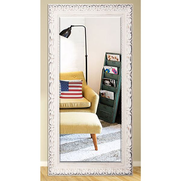 US Made French Victorian White Beveled Full Body Mirror
