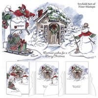 Art Impressions Try'folds Cling Rubber Stamps 10X4.5-Christmas Scene