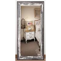 US Made Rustic Seaside Beveled Full Body Mirror - Black/Ivory