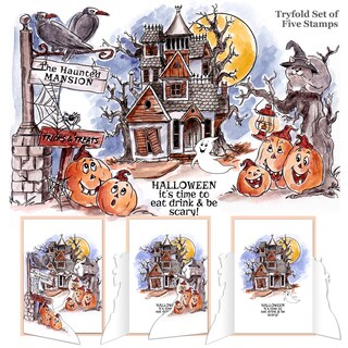 Art Impressions Try'folds Cling Rubber Stamps 10X4.5-Haunted House