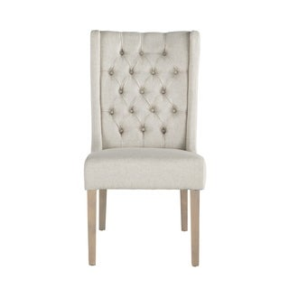 Chloe Off-white Linen Natural Dining Chair