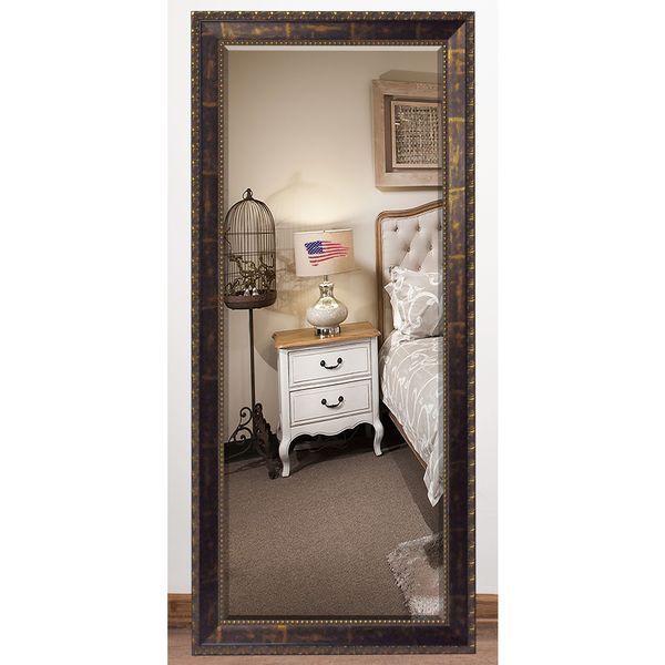 US Made Roman Copper Bronze Beveled Full Body Mirror
