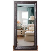 US Made Royal Curve Beveled Full Body Mirror - Dark Mahogany