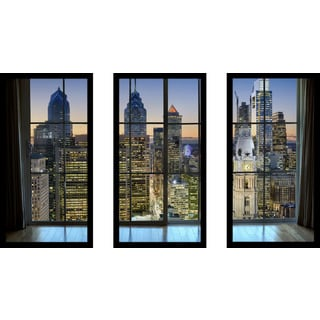 Philadelphia, Pennsylvania, USA Downtown Skyline Window' Framed Plexiglass Wall Art (Set of 3)