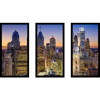 Philadelphia, Pennsylvania, USA Downtown Skyline' Framed Plexiglass Wall Art (Set of 3)