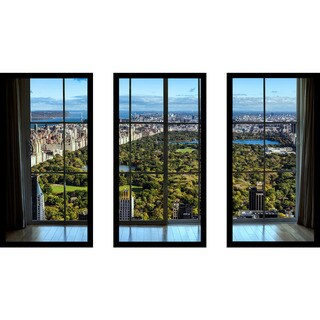 New York Central Park I Window' Framed Plexiglass Wall Art (Set of 3)