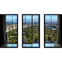 New York Central Park I Window' Framed Plexiglass Wall Art (Set of 3)