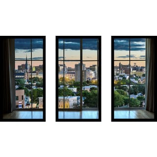 Portland, Maine, USA downtown skyline Window' Framed Plexiglass Wall Art (Set of 3)