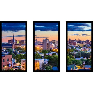 Portland, Maine, USA downtown skyline' Framed Plexiglass Wall Art (Set of 3)