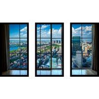 Back Bay, in Boston, Massachusetts Window' Framed Plexiglass Wall Art (Set of 3)