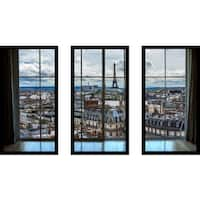 Paris Rooftops 8 Window' Framed Plexiglass Wall Art (Set of 3)