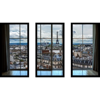 Paris Rooftops 8 Window' Framed Plexiglass Wall Art (Set of 3)