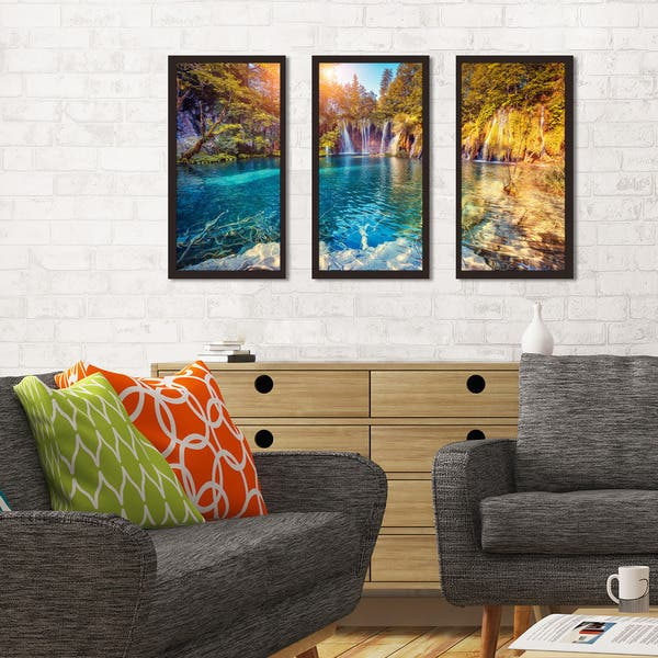 Shop Black Friday Deals On Plitvice Lakes National Park Croatia Framed Plexiglass Wall Art Set Of 3 Overstock 14351513