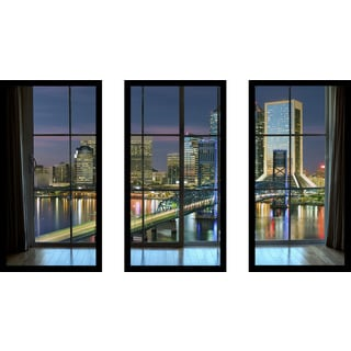 Jacksonville, Florida, USA downtown city skyline Window' Framed Plexiglass Wall Art (Set of 3)