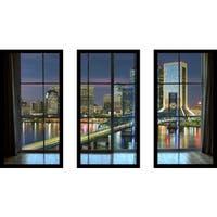 Jacksonville, Florida, USA downtown city skyline Window' Framed Plexiglass Wall Art (Set of 3)