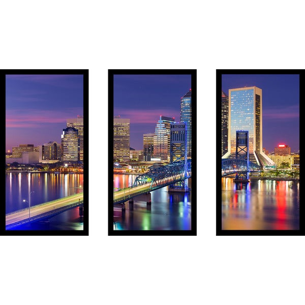 Jacksonville, Florida, USA downtown city skyline' Framed Plexiglass Wall Art (Set of 3)
