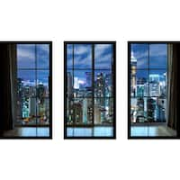 Hong Kong city at night Window' Framed Plexiglass Wall Art (Set of 3)