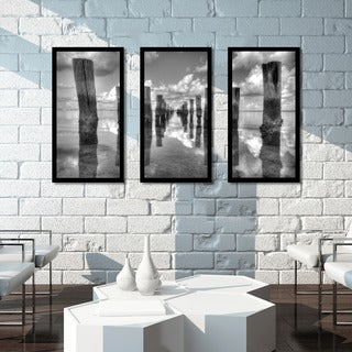 Old Fishing Pier and Clouds' Framed Plexiglass Wall Art (Set of 3)