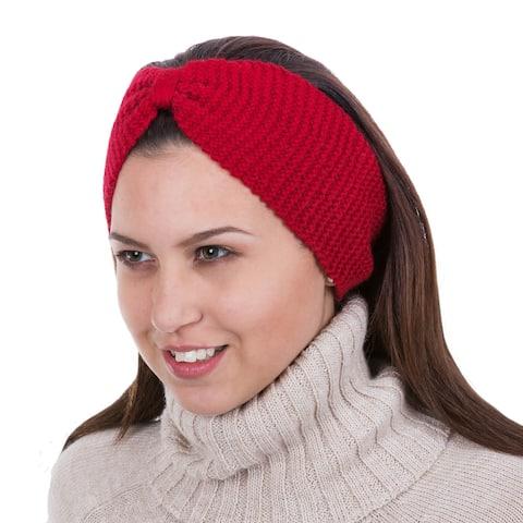 Handmade 100 Alpaca Ear 'Crimson Bow' Warmer (Peru)