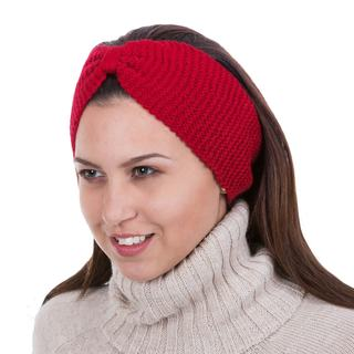 100 Alpaca Ear 'Crimson Bow' Warmer (Peru)
