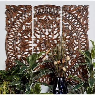 Carved 3-panel Wooden Wall Art