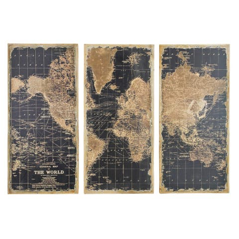 "Stanford World Map Wall Decor (Pack of 3) - 48""H x 22""W x 2""D"