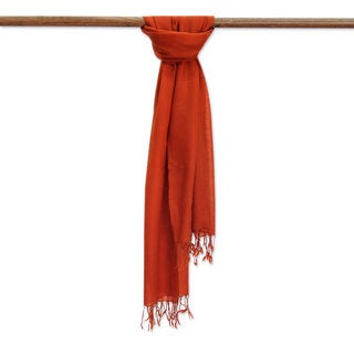 Men's Handcrafted Wool 'Kashmiri Fire' Scarf (India)