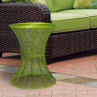 Adeco Outdoor Round Iron Wire Side Table