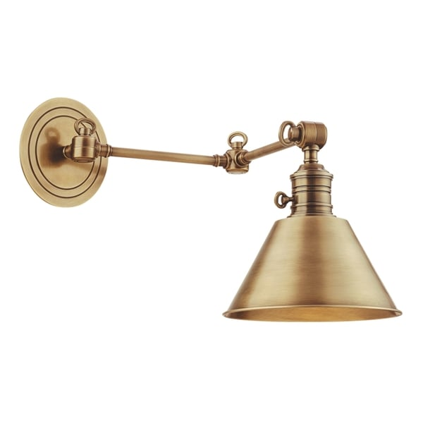 Shop Hudson Valley Garden City Aged Brass Swing Arm Wall ... on Aged Brass Wall Sconce id=16404