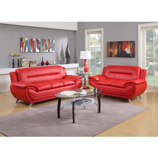 Contemporary 2-piece Bonded Leather Sofa and Loveseat Set