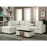 PU Leather Reversible Sectional Sofa and Ottoman Set