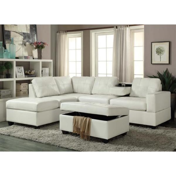 Shop Pu Leather Sectional Sofa And Ottoman Set On Sale Free