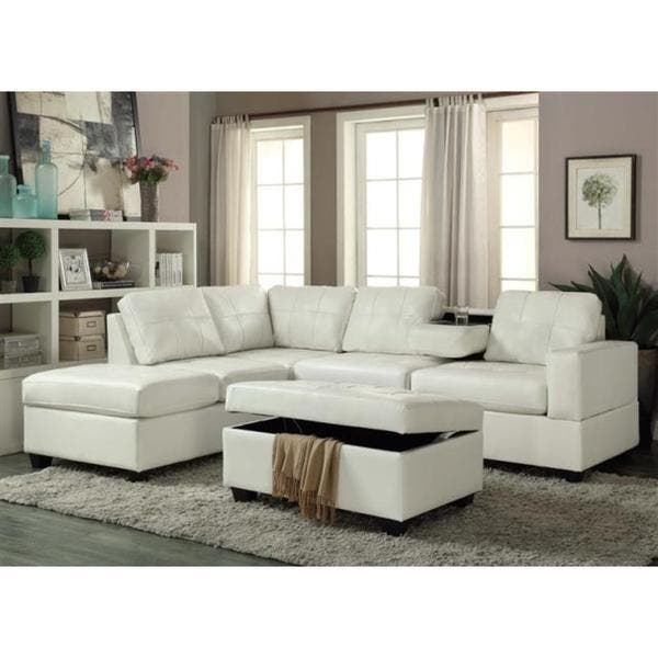 Shop PU Leather Sectional Sofa and Ottoman Set - On Sale - Free ...