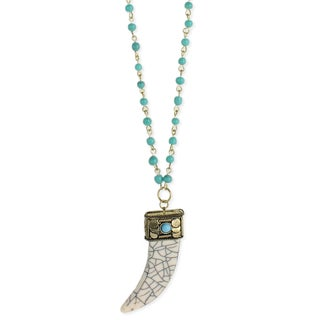 Turquoise and Gold Beaded Chain White Tusk Pendant Necklace